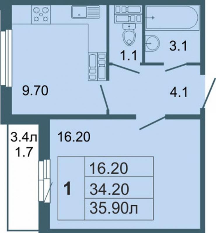 Планировка Однокомнатная квартира площадью 35.9 кв.м в ЖК «Невская звезда»