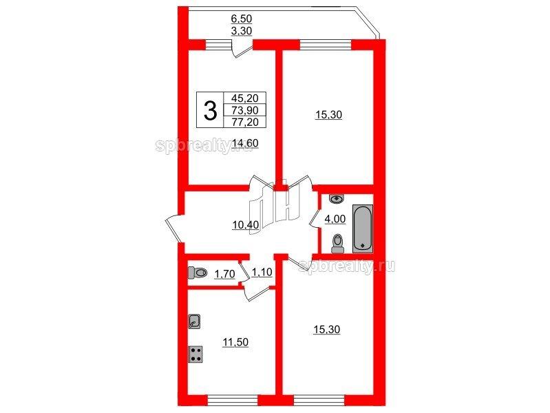 Планировка Трёхкомнатная квартира площадью 77.2 кв.м в ЖК «Невская звезда»