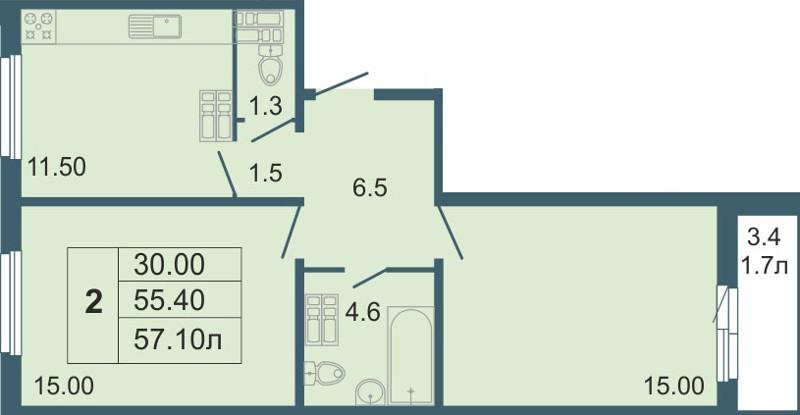 Планировка Двухкомнатная квартира площадью 57.1 кв.м в ЖК «Невская звезда»