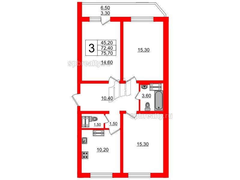 Планировка Трёхкомнатная квартира площадью 75.7 кв.м в ЖК «Невская звезда»