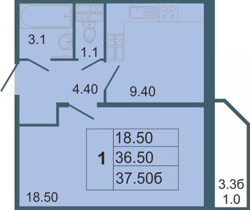 Планировка Однокомнатная квартира площадью 37.5 кв.м в ЖК «Невская звезда»