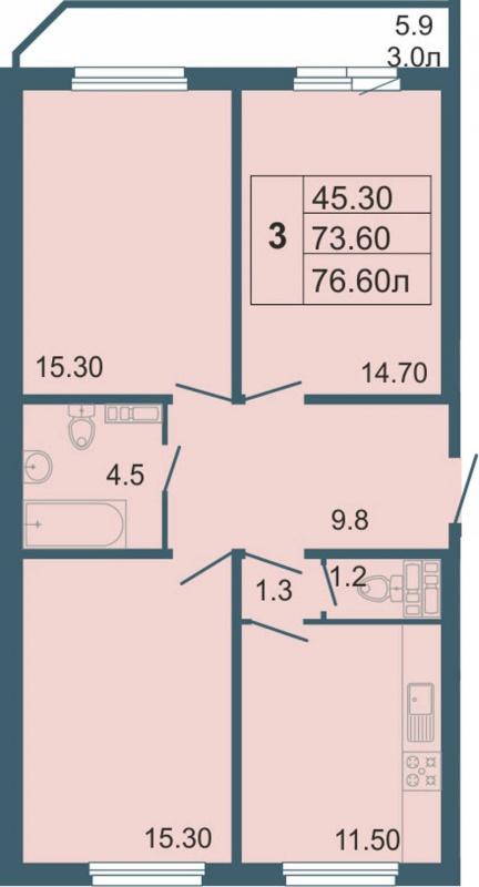 Планировка Трёхкомнатная квартира площадью 76.6 кв.м в ЖК «Невская звезда»