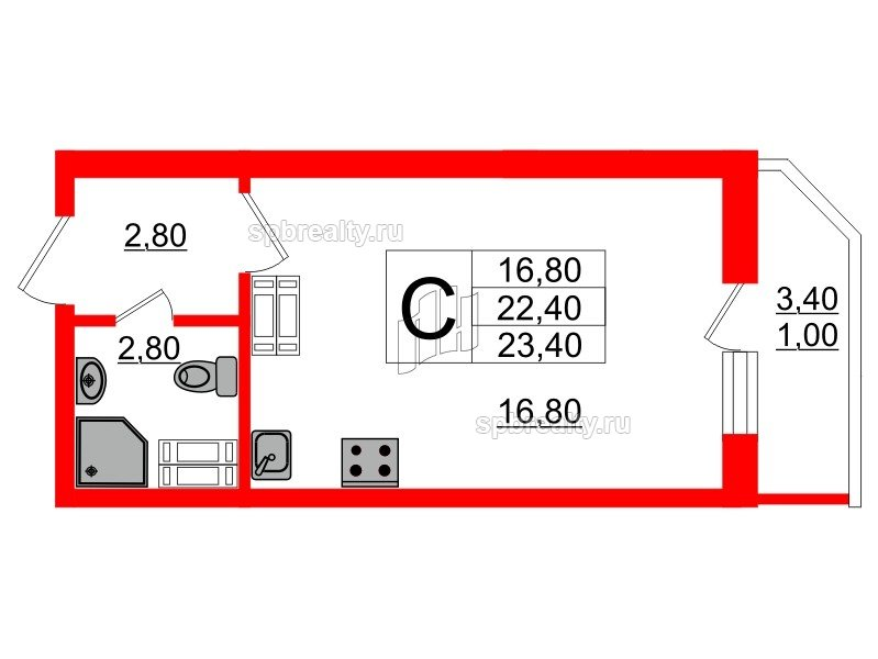 Планировка Студия площадью 23.4 кв.м в ЖК «Невская звезда»
