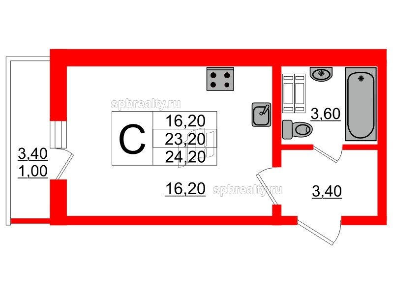 Планировка Студия площадью 24.2 кв.м в ЖК «Невская звезда»
