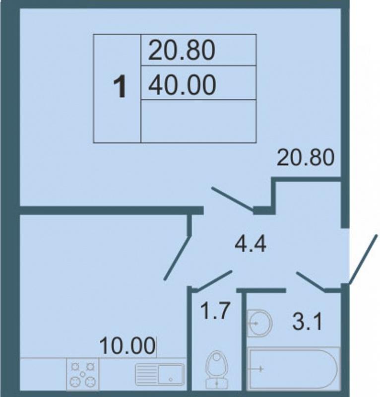 Планировка Однокомнатная квартира площадью 40 кв.м в ЖК «Невская звезда»