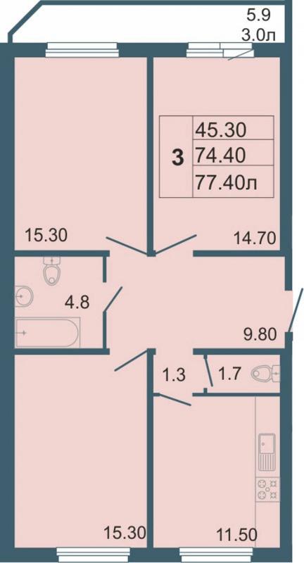 Планировка Трёхкомнатная квартира площадью 77.4 кв.м в ЖК «Невская звезда»