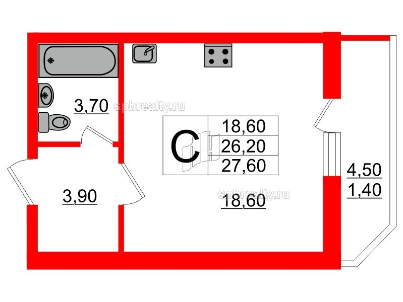 Планировка Студия площадью 27.6 кв.м в ЖК «Невская звезда»
