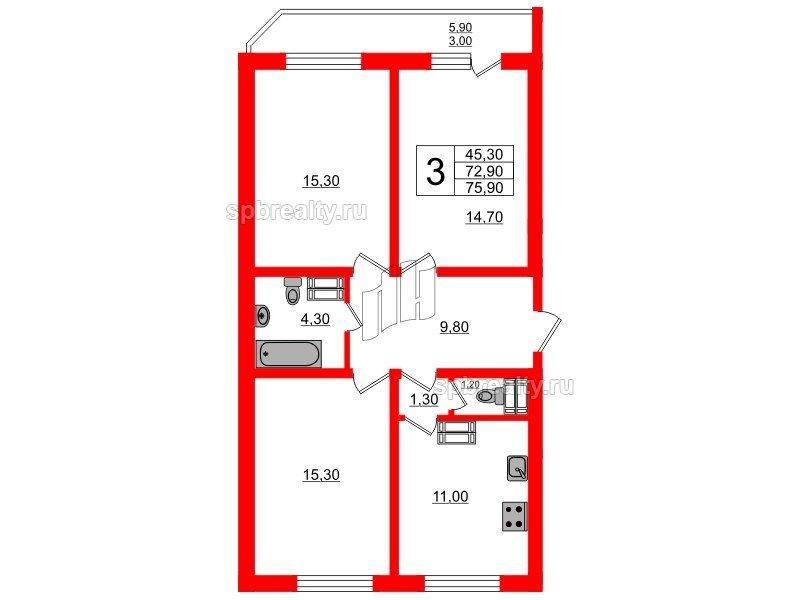 Планировка Трёхкомнатная квартира площадью 75.9 кв.м в ЖК «Невская звезда»