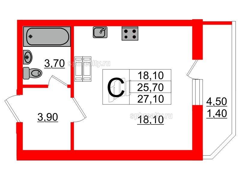 Планировка Студия площадью 27.1 кв.м в ЖК «Невская звезда»
