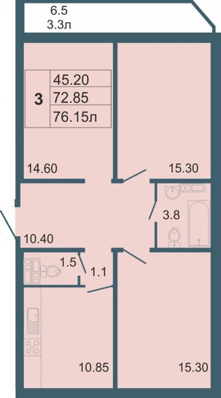 Планировка Трёхкомнатная квартира площадью 76.15 кв.м в ЖК «Невская звезда»