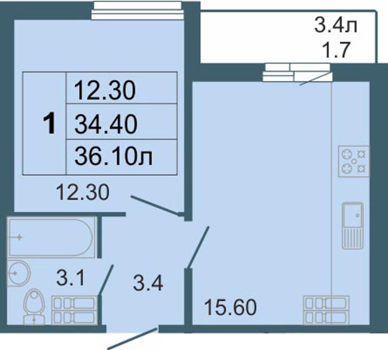 Планировка Однокомнатная квартира площадью 36.1 кв.м в ЖК «Невская звезда»