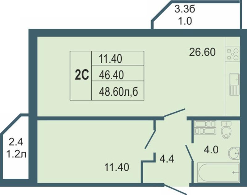 Планировка Двухкомнатная квартира (Евро) площадью 48.6 кв.м в ЖК «Невская звезда»