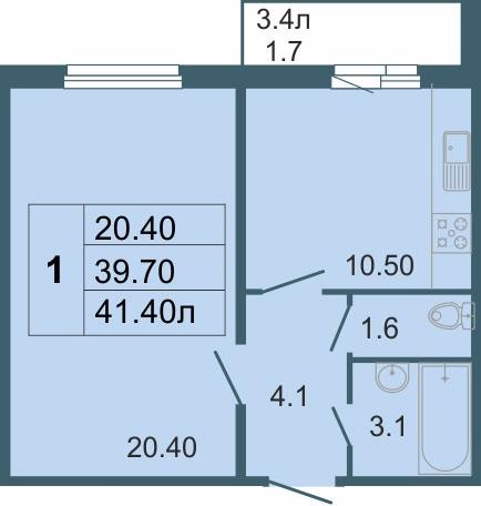 Планировка Однокомнатная квартира площадью 40.4 кв.м в ЖК «Невская звезда (руки)»