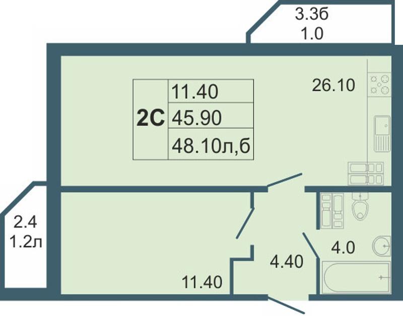 Планировка Двухкомнатная квартира (Евро) площадью 48.1 кв.м в ЖК «Невская звезда»