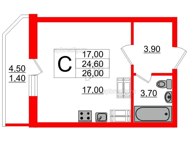 Планировка Студия площадью 26 кв.м в ЖК «Невская звезда»